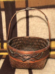 Mid To Late 19th Century Birch Bark Basket Held With Antique Twine