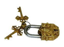 Small Buddha Lock Vintage Antique Style Brass Handcrafted Budha Padlock And Keys