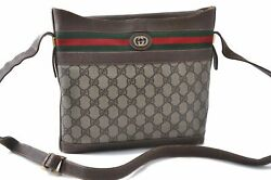 Authentic GUCCI Web Sherry Line Shoulder Bag GG PVC Leather Brown B9280 $280.00