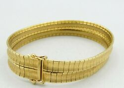 18k Yellow Gold Double Concave Omega Matte Brushed Bracelet 7x.5 32.8g S2041