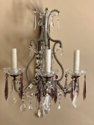 """Pair Antique Crystal Macaroni Micro Beaded Amethyst French Wall Sconces 21"""""""