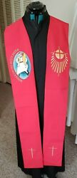 Clergy Pastor Officiant Stole Red Misericordes Sicut Pater Jubilee Of Mercy Nice
