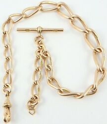 Antique 9ct Rose Gold Albert 13.5 Inch Pocket Watch Guard Chain Weighs 49.3 Gms