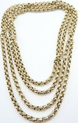 Antique 50 Inch Long 9ct Yellow Gold Muff Guard Chain Necklace Weighs 36.2 Grams