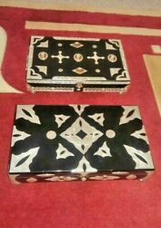 Rare Handmade Tribes Desert Morocco Sterling Silver 925 And Goat Skin And Wood Box