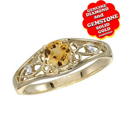 Citrine And Diamond Solitaire Wedding Band Ring 14k Yellow Gold