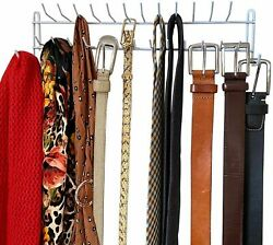 BELT HANGER METAL Belt Rack Holder Belt Ties Closet Storage Organizer with Hooks
