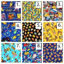 Pokemon Characters Printed Cotton Poplin Fabric By The Yard