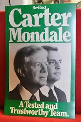 1980 Political Campaign Poster Re-elect President Jimmy Carter Walter Mondale