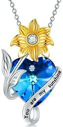 Sterling Silver You Are My Sunshine Blue Crystal Heart Sunflower Necklace 20