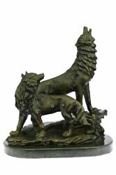 Bronze Sculpture, Hand Made Statue Animal Large Signed Lopez Two Wolves Wolf Art