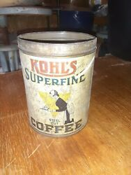 Rare Old Vintage 1920s Kohl Coffee Tin Graphic One 1 Pound Can Quincy Illinois