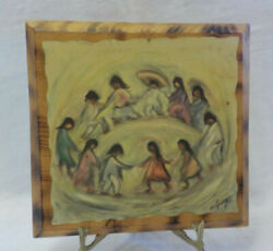 And039los Ninosand039 Ted Degrazia Art Print Decoupaged On Wood Block Signed 9.75 X 9.25