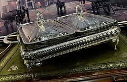 Antique Vintage Silver Plated And Glass Mayell Buffet Serving Dish 2 Sections