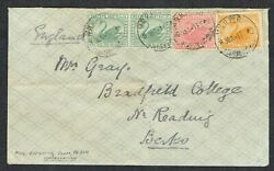 1909 Western Australia Perth To Reading 2x1/2d Green +1d Red +2d Yellow Mail Rr