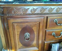 Vintage Mahogony Marble Top Dining Credenza Server Buffet, Lions Head Hardware,