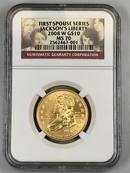 2008 W Jacksonand039s Liberty First Spouse Gold 10 Ngc Ms70