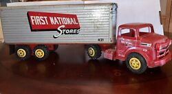 1950s Marx 421 First National Stores Semi-trailer Truck Pressed Steel Toy Rare