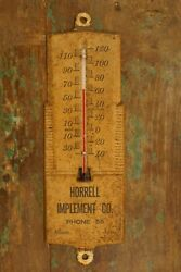 Antique Horrell Implement Co. Albion Iowa Advertising Thermometer Phone 55