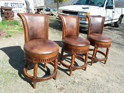 3 Frontgate Chapman Leather Swivel Bar Stools High-end Chairs Elegant Furniture