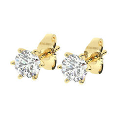 1.00ct Six Claw Set Round Brilliant Cut Diamond Stud Earring In 18k Yellow Gold