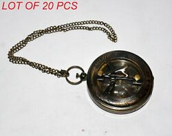 Antique Vintage Brass Locket Style Sundial Compass W/ Chain Nautical Collectible