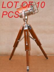Vintage Spot Light W/ Wooden 18 Tripod Stand Floor Lamp Collectible Home Decor