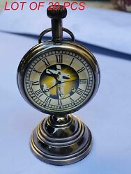 Nautical Vintage Beautiful Brass Table Top Decor Clock With Stand Collectible