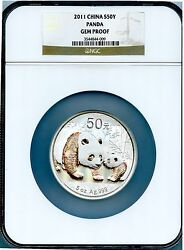 2011 China 50y 5 Oz Silver Panda Ngc Graded Gem Proof Gorgeous Wowow