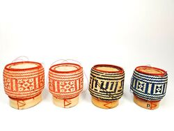 Lot Of 4 Thai-lao Sticky Rice Handmade Bamboo Basket And Home Decoration Blue Pink