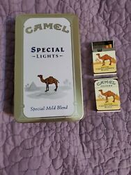 Camel Cigarettes Memorabilia Tin With Matches And 2 Camel Pack Lighters
