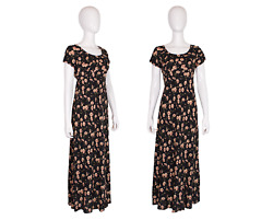 Vintage 80and039s/90and039s Deadstock Jc Penneyand039s Black Empire Waist Dress W/floral Print
