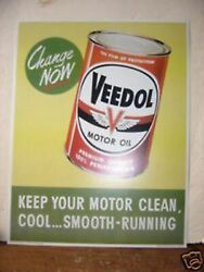 1950and039s2 Pair 1950and039s Veedol Oil Car And Can One Each Cardboard Window Sign