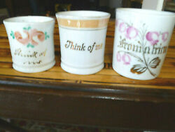 Lot 3 Antique Mugs/tankards 1 Staffordshire And 2 German Victorian Era With Quotes