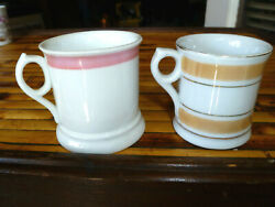 Lot 2 Small Antique Tankards Staffordshire Victorian Era Pink Lusterware Bands