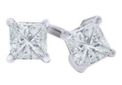 0.5 Ct Princess Cut White Natural Diamond Solitaire Stud Earrings 14k White Gold