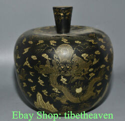 8.4 Marked Old China Lacquerware Gilt Dynasty Palace Dragon Flower Tableware