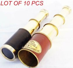 6'' Antique Marine Brass Telescope Leather Grip 2 Set Combo Pack Collectibles