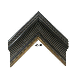 Custom Picture Frame   3w 2 1/8h 5/8r   Ornate Black Ribbed With Ribbon Of Gold