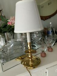 Vintage Baldwin Brass Candlestick Lamp With Shade