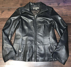 Marc New York By Andrew Marc Black Leather Zip Up Jacket Wonen's Small $19.99