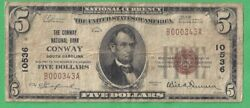 1929 Fr 1800-01 5 Conway National Bank Conway Sc No Ch 10536 Rare 5 Typ1