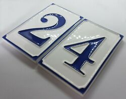 Ceramic Handmade Italian 11cm X 7cm Simple Blue And White House Numbers And Letters