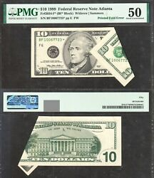 10 1999 Frn Printed Fold Error Star Note Pmg About Uncirculated 50