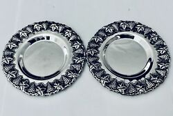 Set Of 2 Round 925 Sterling Silver Trays /plateand039s 4.5-new