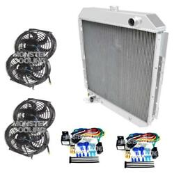 1968-1977 F-series Truck Champion Aluminum 3 Row Radiator4-12 Fans And 2-relays