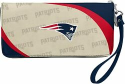 New England Patriots Nfl Women's Synthetic Leather Curve-zip Organizer Wallet