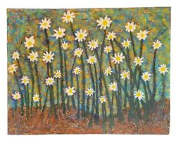 Modern Abstract Flowers Painting Stretched Canvas By John Sperry Lazy Daisy Days