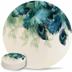Set Of 4 Coasters For Drinks Absorbing Round Ceramic Stone Coaster With Cork