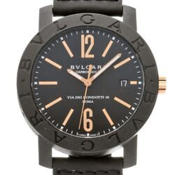 Auth Bvlgari Watch Carbon Gold Bbp40bcgld/n Automatic Black Case 40mm F/s